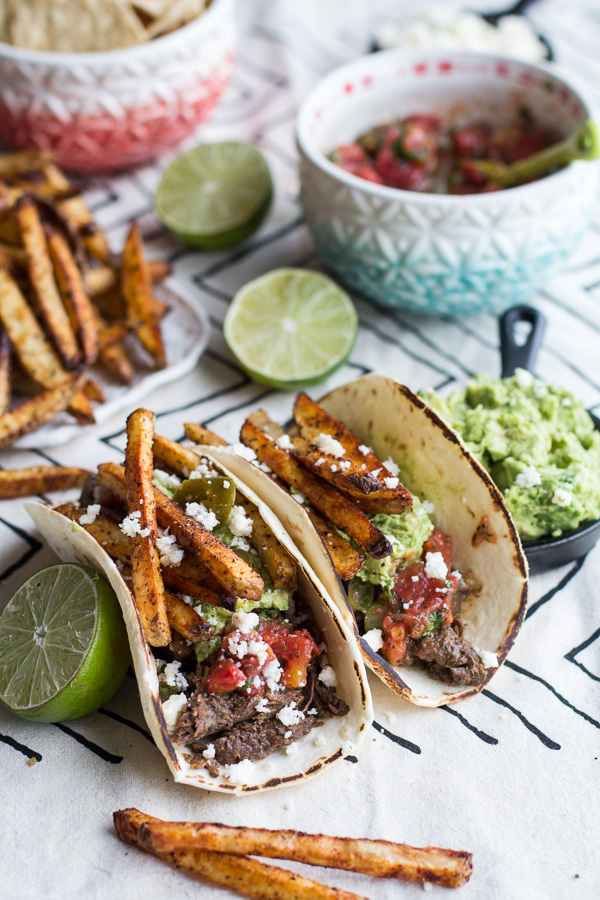 Chile-braised pork shoulder tacos (Bon Appetit)