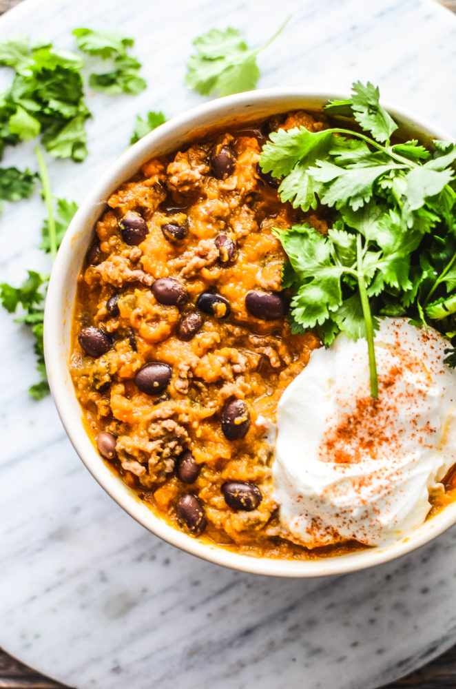 My spicy, hearty sweet potato turkey chili will keep you warm all fall and winter. Whip up this warming chili dish for dinner tonight.