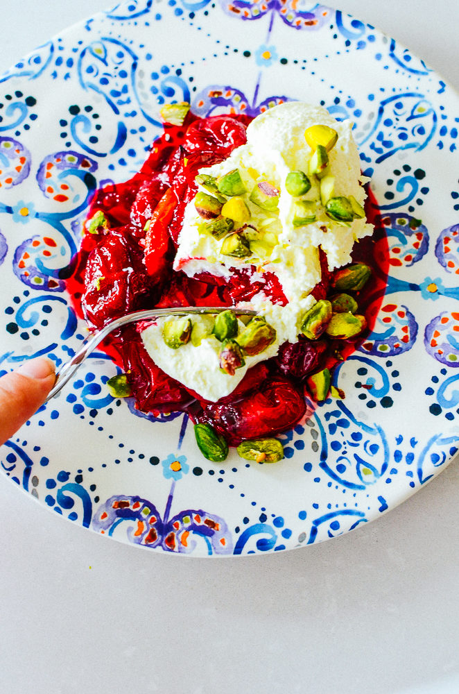 Roasted Plums with Pistachios and Mascarpone